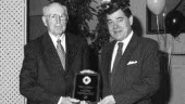 TOP HONOR: Ontario Transportation Person of the Year Harold Gilbert of the Better Roads Coalition accepts his award from Ontario Transportation Minister David Turnbull.