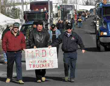PAY UP: Truckers want to get the governement rate for MRDC work.