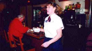 KEEPING FIT: Dingwell spends each shift running from table to table ensuring her customers satisfaction and at the same time keeping in tip-top shape.