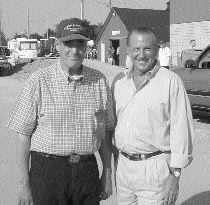 SPECIAL GUEST: Wilson French (left), who started the Truck and Tractor Pull 25 years ago, shown here with Ontario Premier Ernie Eves, who took part in last year's event, held in his home riding.