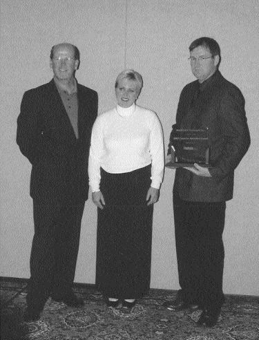 CONGRATS: (From left to right) Ray Haight, Caroline Blais and Bill Kalbhenn of Mackinnon Transport.