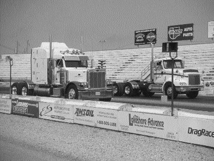 ROARING TRUCKS: On the way to the finish line at the Big Rig Truck Nationals.