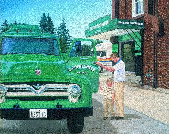 LOOKING BACK: Lance Lowther's paintings have touched many in the industry. In this painting, Dan Einwechter, president of Challenger Motor Freight is five-years-old and he's with his dad Carson, who died in 1960. A 2000 Volvo, painted in Challenger colours, waits in the background. For more on Lance Lowther's work, see pg. 75.