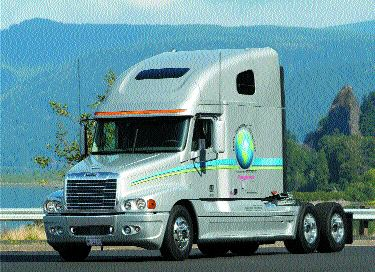 TECH TRUCK: Freightliner's SET demonstration truck included an APU to reduce idling times and emissions.