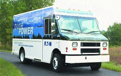 CLEANER: Eaton's hybrid delivery trucks dramatically reduce emissions.