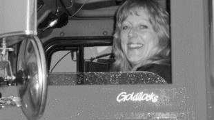 BEWARE: Kim Waligorski is a veteran of 18 years with her own tractor and reefer, but no illusions.Photo by Harry Rudolfs