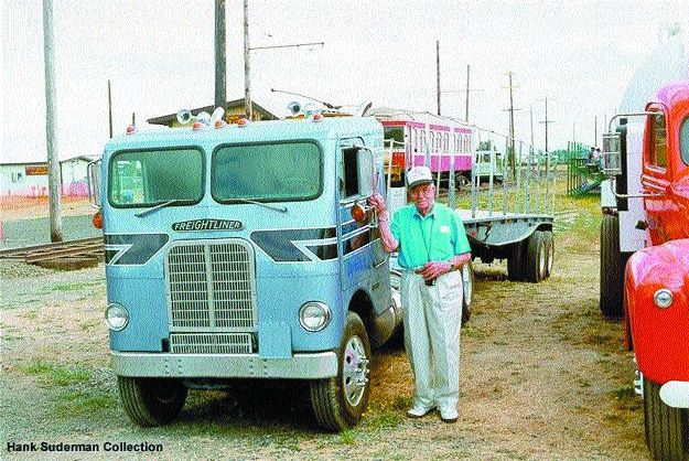 RARE SHOTS: Hank Suderman, 92, standing beside a mini Freightliner.Photo courtesy of Hank Suderman Collection