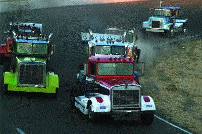 CLOSE BATTLES: The competition improves each year in the North American Big Rig Racing series.