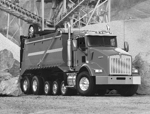 SOLID PROSPECTS: A strong construction market should boost sales of vocational trucks, such as the T800 shown above.