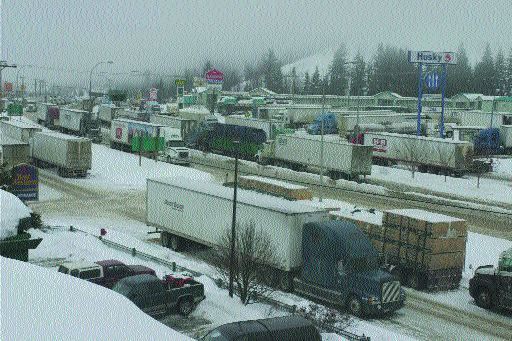 FROZEN ASSETS: Trucking companies reported huge losses as their trucks were stranded.Photo by Andrea Lewandowski