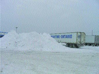 SNOW AND ICE: A snow pile waits to be cleared at a terminal in Halifax.