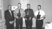 VALOUR CHAMPS: Ontario Transport Minister Harinder Takhar with Award of Valour winners Larry Lewis, Larry Wheatley and Dave Brodrecht.