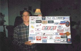 PATCHED UP: Collector David Ross proudly displays just a fraction of his truck company patch collection.