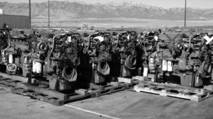 OUT WITH THE OLD: S60 engines wait to be remanufactured outside the Utah plant.