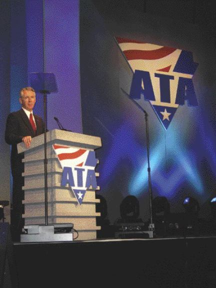 """TOPSY TURVY: ATA president and former Kansas governor Bill Graves spoke to members about the """"mixed bag of successes and failures"""" the trucking industry experienced in 2006."""