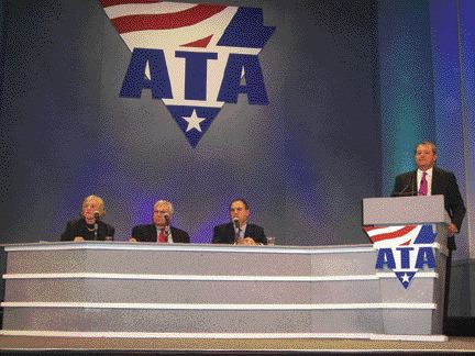 THINGS ARE LOOKING UP: Despite some blows to the U.S. economy this year, ATA chief economist Bob Costello (second from the right) gave an optimistic look for 2006.