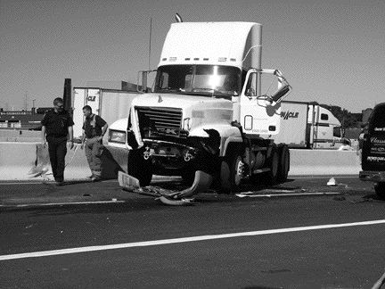 SAFETY MYTH?: Truckers' reputations as the safest drivers on the road may have taken a hit. A recent study show that in accidents between trucks and cars, trucks are at fault 44% of the time. Photo by Adam Ledlow