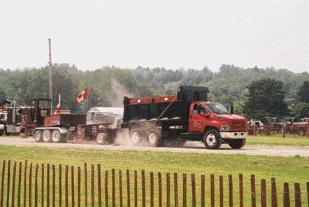 TOUGH TRUCKS: This dump truck was one of many that engaged in competition at the Minden Truck Pull.