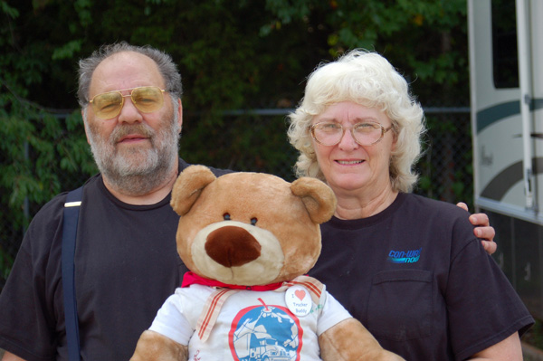 Vic and Sue Jones with Truckin' Teddy