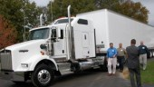 """Kenworth customers share a laugh during a test drive at the """"Right Choice"""" event."""