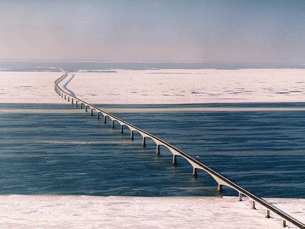 Confederation Bridge in winter.