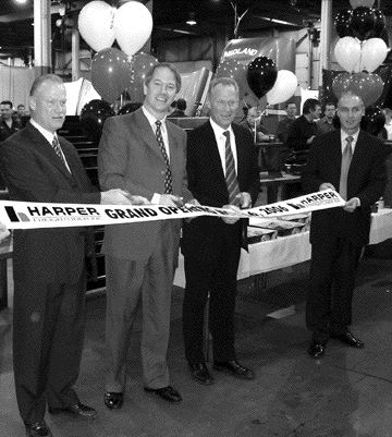 TOP TEAM: Key executive members were on-hand during a celebration of the acquisition of Freightliner Mid-Ontario by the Harper Group. Pictured left to right are Steve Harper, Bob Carilglia, Paul Harper and John Cosgrove.
