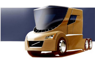 Volvo's new concept truck positions the driver front and center in the cab.