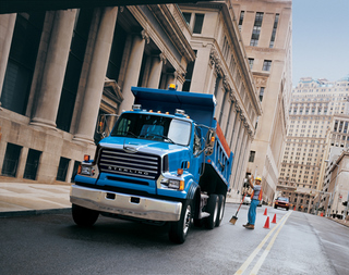 This set-forward Sterling work truck offers improved visibility and easier access for maintenance.