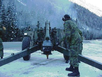 FIRE!: Soldiers from 1 RCHA fire artillery into a mountain to spark a controlled-avalanche in hopes of avoiding lengthy road closures.