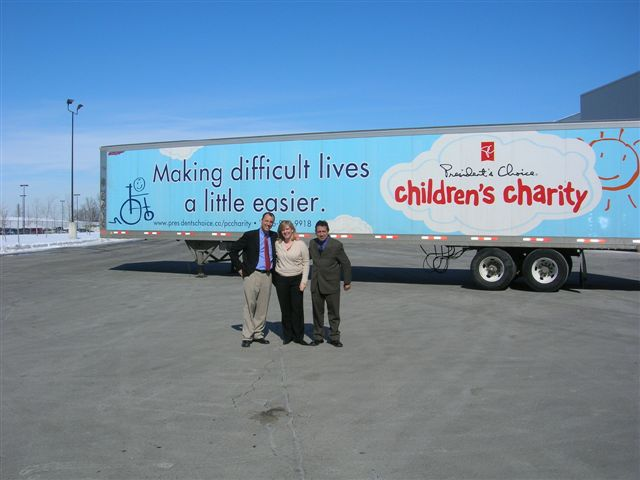 Simon E. Bois, US national director of sales and key accounts Canada with Turbo; Peggy Hornell, director fundraising and administration for President's Choice Children's Charity; and Nelson Carreira, Turbo's Reg. Director of Operations.