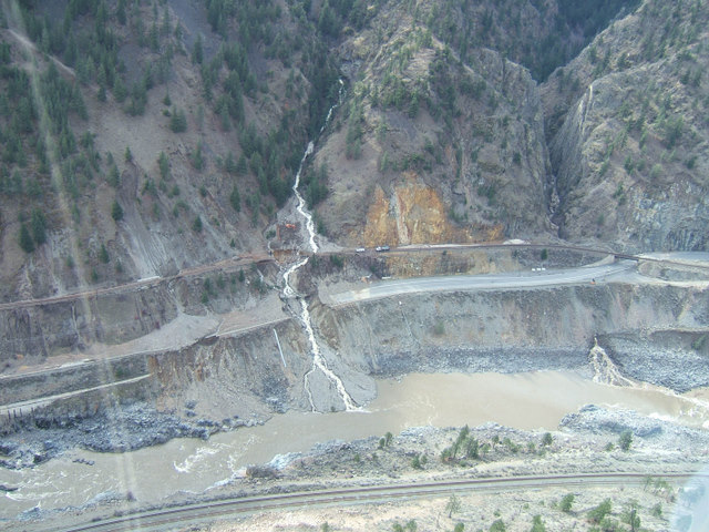 A debris slide has covered a section of the Trans-Canada Highway between Lytton and Spences Bridge.