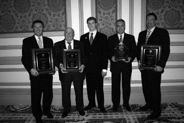 WELL-REPRESENTED: From left to right, award winners: Claude Robert, Robert Transport; William and Alex MacKinnon, MacKinnon Transport; Garth Pitzel and Rob Penner, Bison Transport.