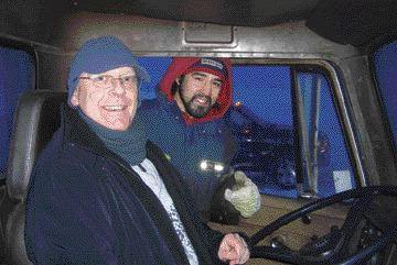 DREAM COME TRUE: Joachim Hilmerich gets some advice from construction worker Toby, before heading out on the ice roads.