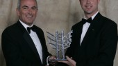 From left, Mercuriades gala chairman Benjamin J. Kemball, CEO and president of Imperial Tobacco Canada, presents the 2007 Mercuriades human resources award in the large business category to Alain Boissonneault, human resources manager, PACCAR Ste. Therese plant.