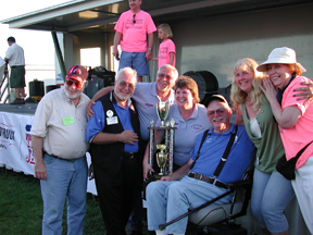 Gary King, fifth from left, surrounded by friends at the Iowa 80 Truckstop, at the first annual Gary King Trucker Buddy award presentation during the Walcott Truckers Jamboree, July 2006.