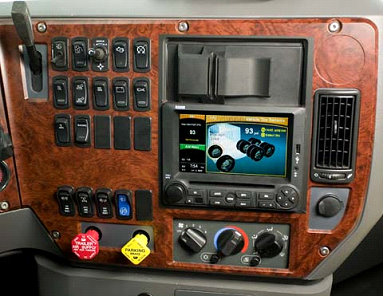 The new Navion R5000 navigational radio for the Mack Pinnacle and Mack Granite integrates radio, CD, digital audio playback, remote camera systems, onboard navigation, vehicle monitoring through a J1939 data link, trip computer and tire pressure monitoring.