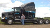 Jeff Hall, president of J&R Hall Transport in Ayr, Ont., with one of his fleet's new Kenworth T660s.