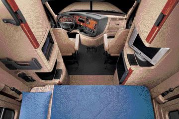 LARGER CABS: Today's truck cabs, such as Freightliner's Cascadia, are larger to accommodate bigger drivers and provide more storage space.