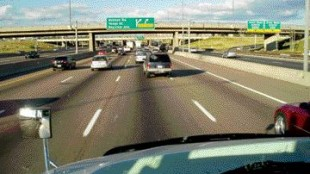 GOOD VISIBILITY: Visibility out the ProStar's windshield is excellent, eliminating the need for those 'floppy' overhead mirrors, writes Rudolfs.