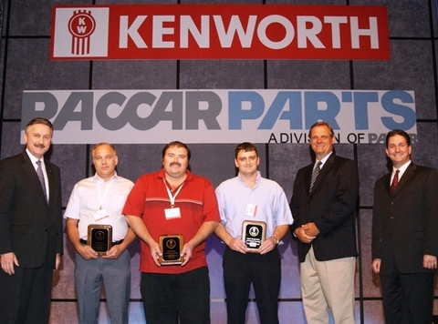 From left are Rick Gorman, PACCAR Parts general manager; third-place Mike Hoppe, Kenworth of St. Louis; winner Rickey Moss, Kenworth of Indianapolis; runner-up Stuart Hammersley, Kenworth Kitchener; Bob Christensen, Kenworth general manager; and Brett Weston, Kenworth dealer training manager.