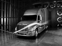 AERO BATTLE: Freightliner says testing shows its Cascadia boasts best-in-class aero, but International says it will do its own tests, thanks.