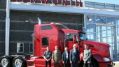 At the recent grand opening of Lloydminster Kenworth, from left are: Bryan Robinson, branch manager; Neil Vonnahme, Kenworth general sales manager; Kelly Kennedy, Kenworth region manager; Gary Moore, Kenworth assistant general manager; and Gilles Robert, Edmonton Kenworth truck sales manager.