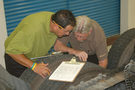 "Rocky Zucchelli (left) from Wingfoot Commercial Tire in Stockton, Calif., and Mike Stout from Wingfoot Nationwide Sales, perform a tire and wheel inspection during ""boot camp"" at Goodyear's Tire Academy."