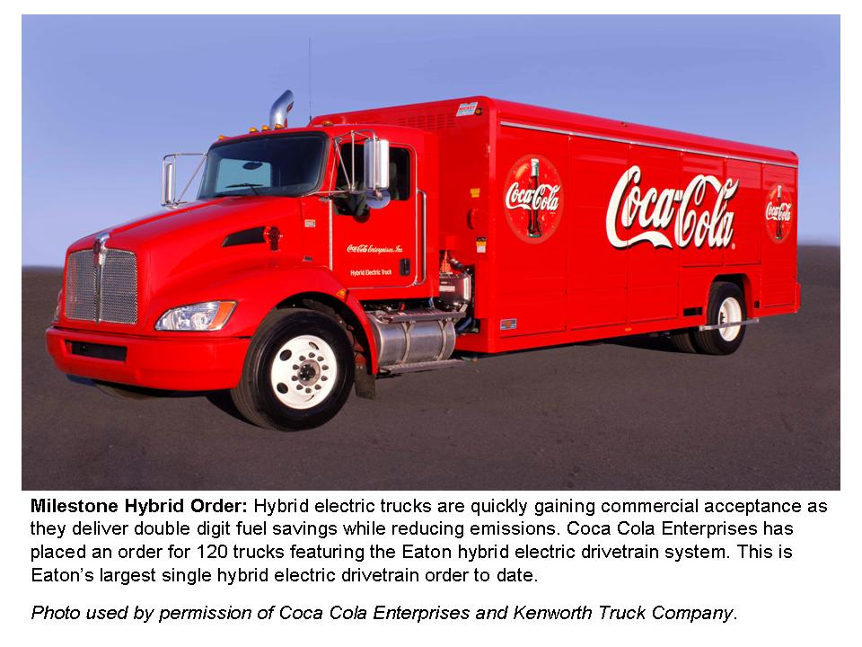 Coca-Cola's order of medium-duty hybrids is the largest ever for Eaton.