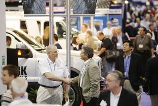 Exhibitors and attendees mingle at this year's Work Truck Show in Atlanta.