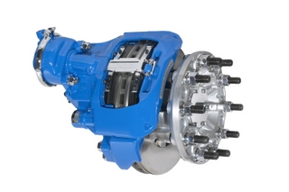 Bendix air disc brakes like this one, may be used along with traditional drum brakes to meet the new NHTSA stopping distance requirements, expected later this year.