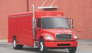 ON THE STREETS: Freightliner's M2e beverage truck was introduced at the Work Truck Show, where it was also available for test drives. The PEC on this truck was placed on the ceiling of the body where it doesn't interfere with payload.