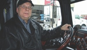 HAPPY DRIVER: Harry Rudolfs approved of his first drive in a Western Star 4900 FA, provided by Harper Ontario Truck Centres.