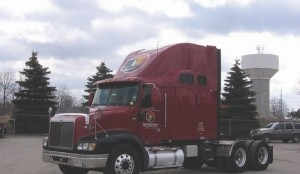 SAFETY FIRST: MacKinnon's Richard Sharpe said he would ground the fleet immediately in the event of a major recall. The company operates 270 power units, including this International.