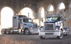 HIGHWAY BULLDOG: Mack has dressed up its highway truck, the Pinnacle, with a Rawhide version aimed at image-conscious fleets and owner/operators.